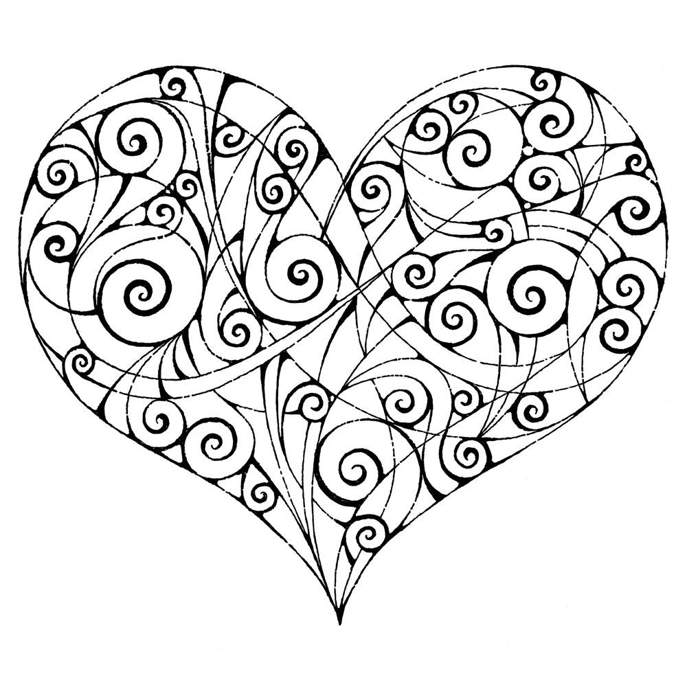 heart design coloring pages - decorative illustration m j fry art illustration designm
